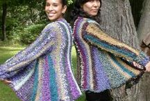 Lucci Yarn Mardi Gras Swing Jacket/Vest Kit / Each kit includes a variety of designer yarns and pattern to create this creation of wearable art.  Available from yarn shops.  Contact lucciyarn.com for the name of a shop near you.  Designed by Nancy A. Boccuzzi
