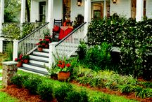 Landscaping Ideas / Adding plants around your porch and walkway ups your curb appeal tremendously - find both simple and more involved landscaping design ideas here - for all areas of your yard! #porchlandscaping #porchlandscapingideas #porchlandscapingdesigns