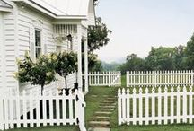 Picket Fence Love / Picket fences help boost curb appeal, provide boundaries in neighborhoods and point the way to your porch. They also come in many styles! / by Mary @ Front Porch Ideas and More