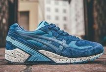 Sneakers: Asics Gel Sight / Originally release in 1992 as the official training shoe of the Japanese Olympic delegation to Barcelona. For many years the Gel-Sight was a Japan only model. However in 2015 the Gel-Sight was re-issued featuring the same unique touches, such as a large heel stabiliser, GEL Wave Suspension and a visible GEL window on the outsole. So far we have seen collabs with Ronnie Fieg and Boston's Concepts.