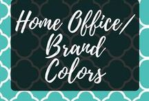 Home Office/Brand Colors / Working from home has its perks, my own home office design! Brand colors are important to tie into that.