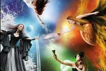 Natuurreligie / Vier elementen, wind, water, aarde, vuur, wicca, pagan