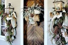 *Winter Welcome* / Winter white doors and wreaths. Outdoor lights create a glowing welcome to the season. / by *Melissa Miller*