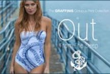 GRAFFINIS OCTOPUS PRINT COLLECTION / The Graffinis Octopus Collection features early 20th Century oceanic line drawings of giant squid and octopus. We then enhanced the colors and engineered them into bikini and one piece swimsuit styles.
