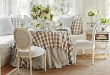 cozy peaceful decor /  i find this decor appealing, peaceful.. love buffalo checks & ticking
