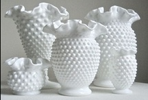 DECOR - Marvelous Milk Glass / I just love the look of Milk Glass....lots of it, on shelves, with flowers, so sweet!