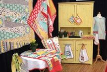 Quilt Market Demo Booth Fall 2013 - Crazy for Daisies by ADORNit Fall 2013 / demo booth kitchen at the Dude Ranch - features Crazy for Daisies by ADORNit - features Cuddle mixed with cotton and also terry!
