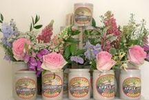 Rustic Vintage Jam Jars With Flowers