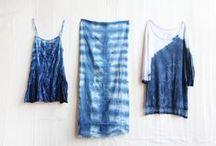 Tie dye / Shibori / Dyed fabric / Inspiration and instructions how to dye the fabric: tie dye, shibori, stamping.