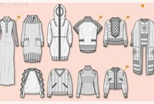 Yarncraft tech - flat sketches and croquis / Garment design illustrations and templates