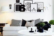 Home - black and white / Inspiratie voor mijn woonkamer. Zwart-wit, stoer en toch gezellig!