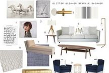 Tea With Sarah Richardson / My entry for the Blog Podium Tea with Sarah Richardson contest. I've designed my Ultimate Dream Living Room. Pops of white, grey, navy, and brass. Plush furniture with mid-century modern nods. Eclectic art. Quirky lighting. I'd like to move in immediately, please!