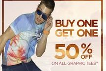 Summer, Summer Time! For Men / Never be afraid to get graphic! With many graphic choice to choose from, your Summer style will never suffer!   Until June 28th, 2015: Buy one, Get one 50% off! On all Graphic Tee purchases at www.pointzero.ca / by Point Zero
