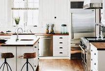 Farmhouse Kitchen / Farmhouse style kitchen inspiration, bright white, open shelving, ironstone, subway tile, beadboard, farmhouse sinks and shiplap.