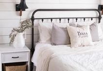 Farmhouse Bedroom / Farmhouse bedroom design inspiration; cozy linens, vintage pieces, grain sack, quilts, antique furniture, shiplap, neutral rugs and natural elements.  All beautifully styled and simple.