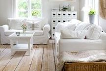 Farmhouse Living Room / Farmhouse living room design inspiration; natural fiber rugs, chunky knits, white slipcovers, cozy throw pillows, shiplap, board and batten, built ins, window seats, wing back chairs, vintage pieces, ironstone and greenery.