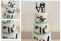 Cakes with silhouettes/laser cut frosting sheets / Adding a precision cut silhouette to the side of a cake can really add such a classy look. Available from customicing.com.au email for pricing details.