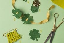 St. Patty's Day / Leprechauns, four leaf clovers, wearing green, lucky charms.