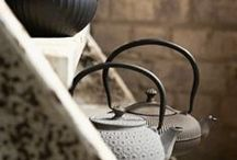 Tea & Teapots / Tea cups, tea leafs, teapots.
