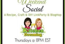 The Weekend Social - LINK PARTY / Culmative Pins from those bloggers attending our weekly Link Parties.  #DIYBloggers, #Craftbloggers, #Bloggerswanted, #Linkparty, #Linkup, #Bloghop / by Kitchen Dreaming