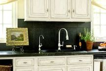 Refinish cabinets and counters in kitchen and bath / Tips on repainting or redoing cabinets and countertops in kitchen and bathrooms / by Lana Artz- Prine
