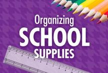 Organizing School Supplies / When it's that time of year again, be ready with Alejandra Costello's tips, ideas, videos, and best products for organizing school supplies! Her creative and cost-effective school supply storage organization solutions encourage happier homework time and academic success, all while teaching kids about the benefits of organization! / by Alejandra Costello | Home Organizing Tips, Ideas, Videos, & Best Products