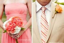 Poppy, Coral, & Peach / Colors: poppy, coral, peach; pair with neutral (burlap & antique lace, charcoal gray, or green?)    Theme: vintage/history with a dash of rustic; mason jars, chalkboards Date: 9/30/17 / by Jen Putnam