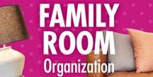 Family Room Organization / Life as a family may not always be chaos free, but at least your family room can be! Alejandra Costello's family room organization ideas, tips, videos, and best products will help you make room for more time, fun, or relaxation together as a family.