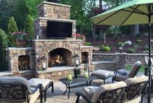Charlotte Outdoor Fireplaces / Outdoor fireplaces and fire pits located in the Greater Charlotte area. All of these pictures are designed and built by Fine Edge Landscape Design.