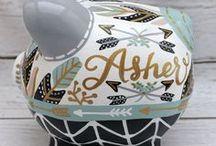 Custom Hand painted piggy banks by Alphadorable
