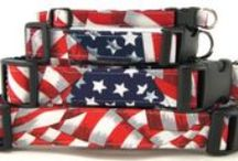 Patriotic Dog & Cat Collars / Fun red, white and blue collars for your dog and cat, handmade by K9 Bytes