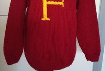 Harry Potter style jumpers / Various jumpers I have been asked to knit with their own letters on the front