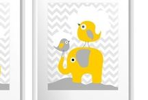 nursery for our twins - grey, yellow, elephant, turquoise accents / by Elisabeth Doherty