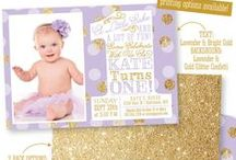 Purple Gold Silver Party, Nursery & Home Decor / ✨ Invitations & Paper products from www.sprinkleddesigns.com ✨