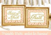 Peach & Gold | Party, Nursery & Home Decor / Everything you need for a Peach & Gold Glitter Party! ✨ Invitations & Paper products from www.sprinkleddesigns.com
