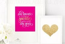 BRIGHT PINK & GOLD | Party, Nursery & Home Decor / All things Bright Pink & Gold Glitter! ✨ Invitations & Paper products from www.sprinkleddesigns.com