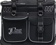 Silver Edition Dream Duffel® / Our Dream Duffel® has everything you need! It features a one-touch telescoping garment rack, fully-lined accessory pockets, an insulated snack pocket, an integrated stool pocket, removable interior dividers, and a removable personalized patch! Plus, it's all on wheels with a convenient pull-out handle for easy transport! | Available in Small and Medium | www.dreamduffel.com