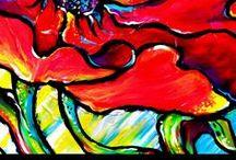 Bright Blooms / Textured Acrylic Paintings of Canvas by Artist Nada Meeks.http://www.artistnadameeks.com