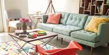 Living/Dining Room Inspiration / Eclectic and vintage inspiration for living rooms in a small home!
