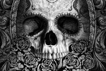 MUCH OF MADNESS Cover Inspiration / Victorian-esque sugar skull, dahlias, cameo, & strong font.  Shades of blue, red, & silver would reflect the colors of the cursed. Gothic tone - Blend of horror, feminine, & nature elements.