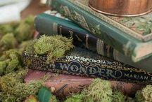 AT HOME/GALA / Mystical, Bohemian Fairytale Event Decor ideas... Deep rich autumn colors. Lace, velvet, copper, plum, garnet, shoes, pumpkins, moss ... and then add snow