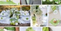 Apple Green & White Wedding Inspiration / Perfect for Spring or Autumn, apple green and white are a stunning colour combination.  Personalise with touches of your favourite accent colour for a lovely rustic feel to an outdoor wedding.