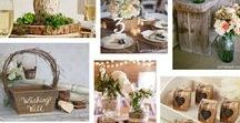 Rustic Weddings / Dreaming of a rustic style wedding?  Rustic weddings pay tribute to the great outdoors and natural elements and textures, whilst still embracing style.  Think beautiful barn or outdoor venue, decorated with natural wood elements - burlap, lace, twine, linen, mason jars and handmade wooden signs.  Here are some of our favourite rustic wedding elements – have you been inspired?