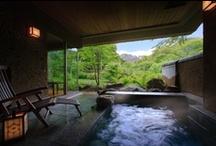 Beautiful hot spring resort in Japan