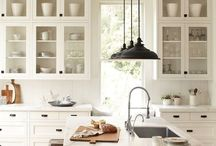 House--Kitchen / Kitchens. Lots of yummy wood floors, white cabinets, and aqua tile backsplashes.  / by Sophie Williams