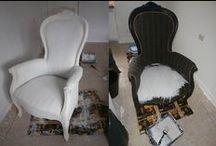 Stof - leer - riet met Annie Sloan Chalk Paint / Annie Sloan Chalk Paint voorbeelden op stoffen stoelen, leren stoelen en rieten stoelen