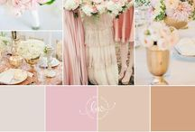 Colors / Blush: from pale pink, to ballet pink, to dusty mauve French blue: from dove gray to dusty light blue Taupe: from ivory, to cream, to nude, to warm beige, to pale almond Gold highlights