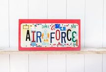 Air Force / Unique art pieces for Air Force Families and personnel. Contact UNIQUE PL8Z to create your own art pieces using license plates from all the states you have lived in.