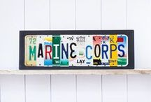 Marine Corps / Unique art pieces for Marines and their families.  Contact UNIQUE PL8Z to create your own custom sign using license plates from all the states you have lived in.