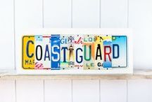 Coast Guard / Unique art pieces for Coast Guard families and personnel.  Contact UNIQUE PL8Z to create your own signs using license plates from all the states you have lived in.